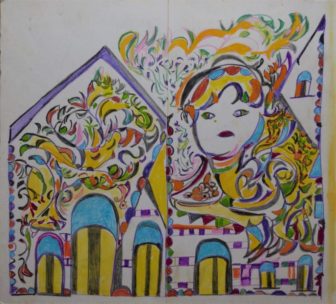 Martha Grünenwaldt, sans titre, nd, dessin au crayon gris, crayons de couleur et gouache sur papier, 37 x 40,5 cm
