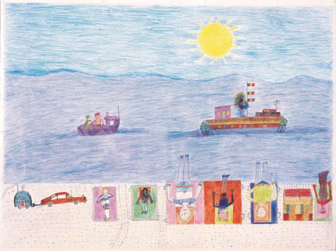 Oscar Haus, sans titre,  2000, crayons de couleur sur papier, 55 x 73 cm