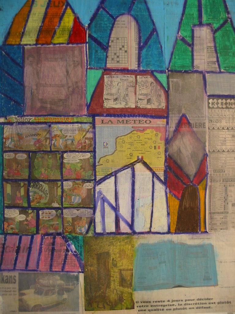 Michel Beauthier, 1993, collage, technique mixte sur papier, 73 x 55 cm