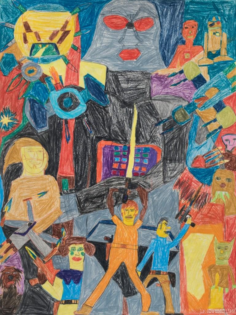 Jean-Luc Godz, crayons de couleurs, 55cm x 73cm