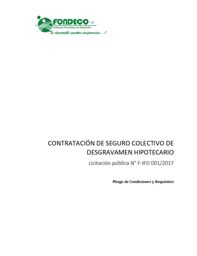 thumbnail of Pliego de Condiciones