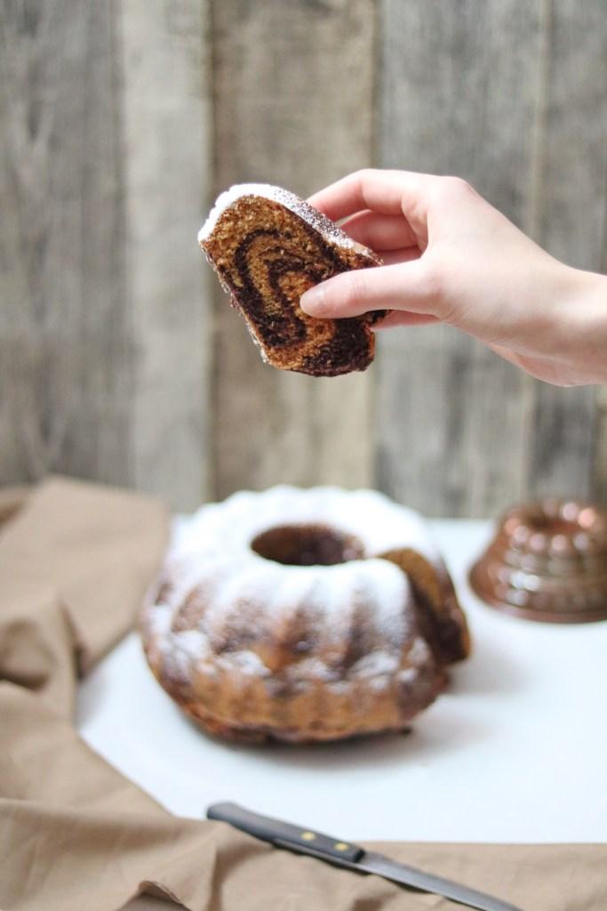 Mamorkuchen mit Kurkuma und Schokolade vegan Rezept