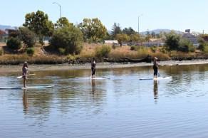 Paddle-boarders enjoying the Napa River.