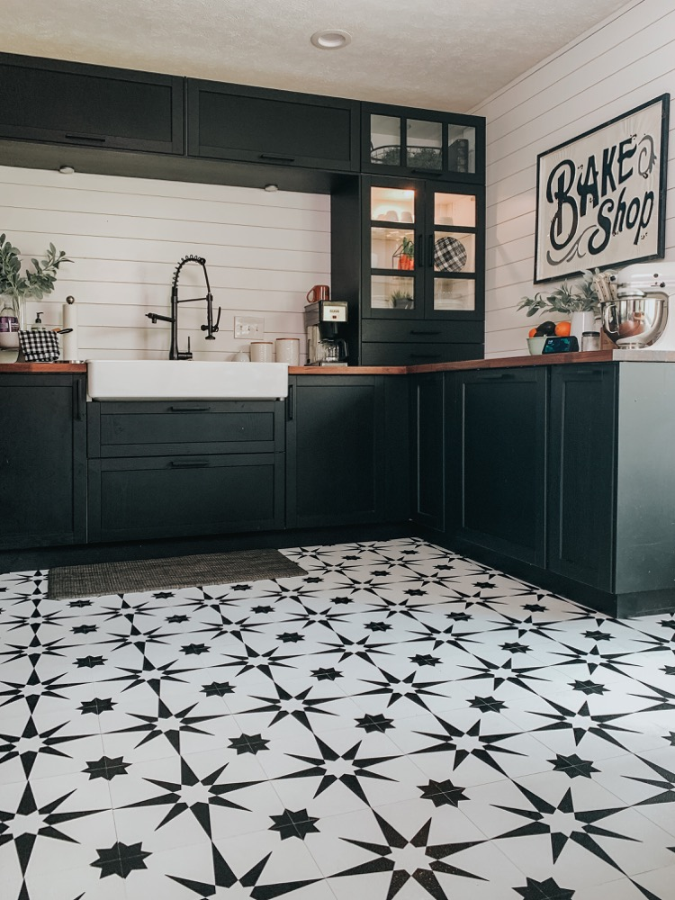 Kitchen Floor Makeover With Floor Pops Altair Tiles Fontaine Farmhouse