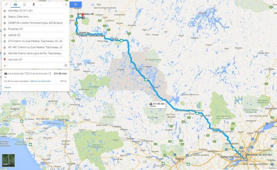 Carte du trajet réalisé entre Montréal et l'Abitibi