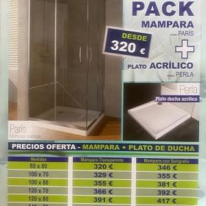 Promoción Pack MAMPARA+PLATO DUCHA ACRÍLICO