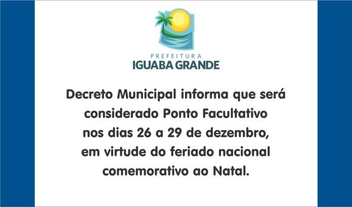 Prefeitura de Iguaba Grande decreta ponto facultativo até a próxima sexta