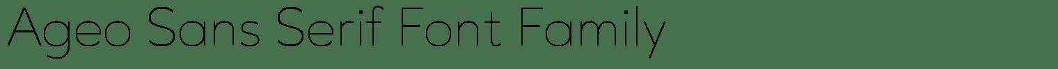 Ageo Sans Serif Font Family