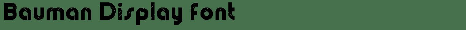 Bauman Display Font