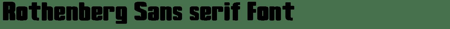 Rothenberg Sans serif Font