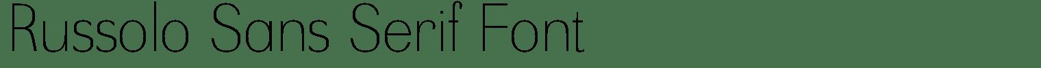 Russolo Sans Serif Font