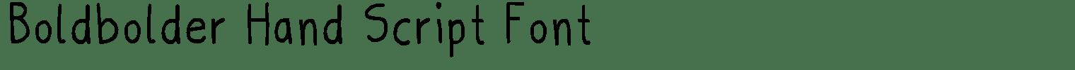 Boldbolder Hand Script Font