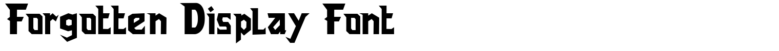 Forgotten Display Font