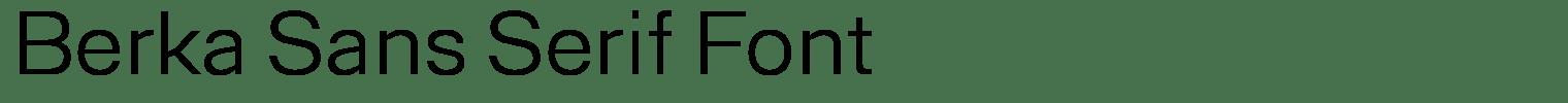 Berka Sans Serif Font