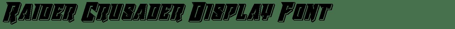 Raider Crusader Display Font