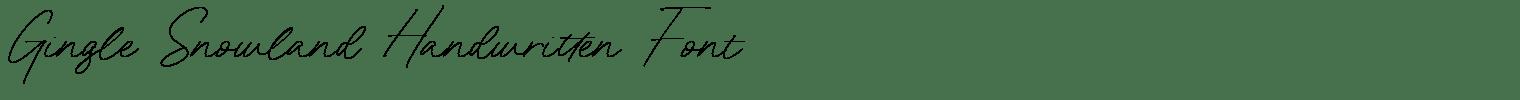 Gingle Snowland Handwritten Font
