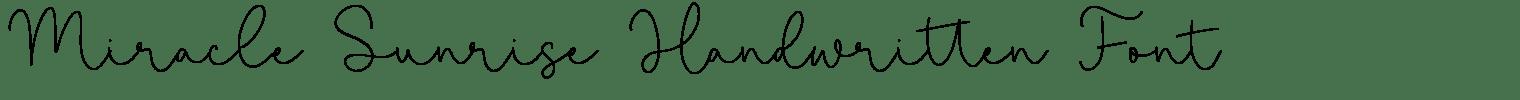 Miracle Sunrise Handwritten Font
