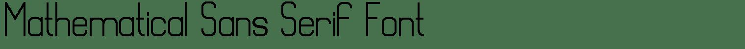 Mathematical Sans Serif Font