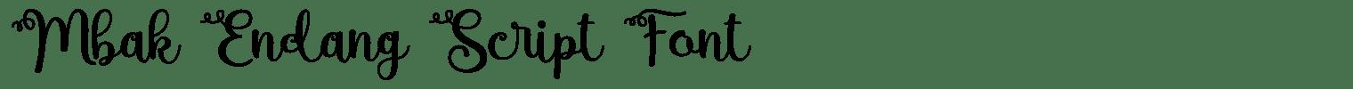 Mbak Endang Script Font