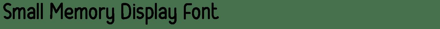 Small Memory Display Font