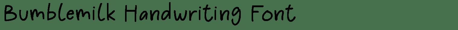 Bumblemilk Handwriting Font