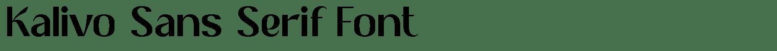 Kalivo Sans Serif Font