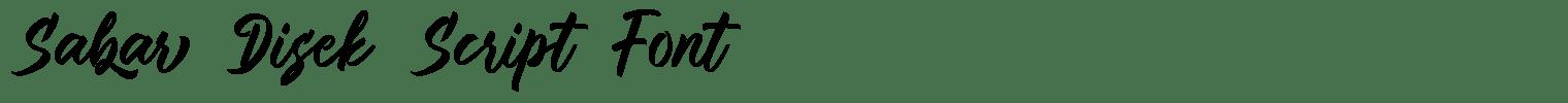 Sabar Disek Script Font