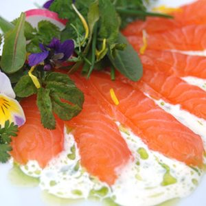 Cured salmon with garden weeds