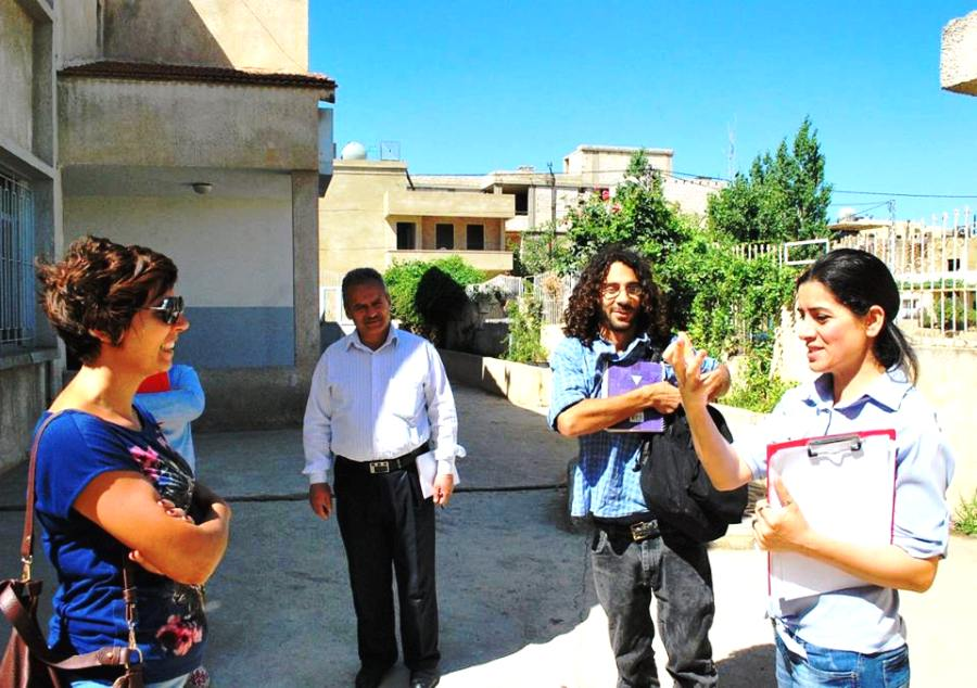 The project team visiting the school in Bar Elias to assess its garden