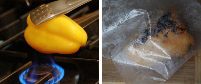 a pepper held over fire and a pepper in a plastic bag