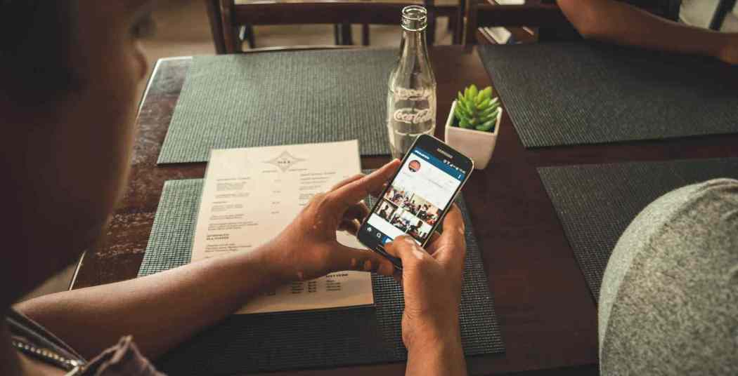 Smartphone at table