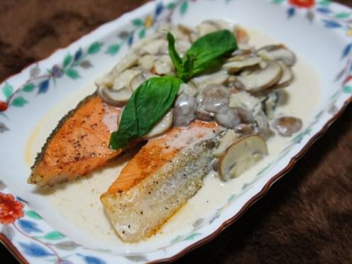 Salmon with Creamy Mushroom Sauce