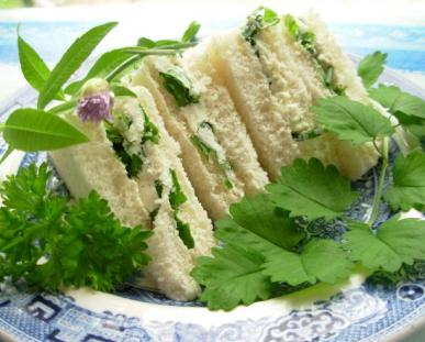 Herb Cheese Tea Sandwiches.