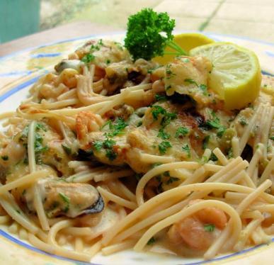 Shrimp and Spaghetti Gratin