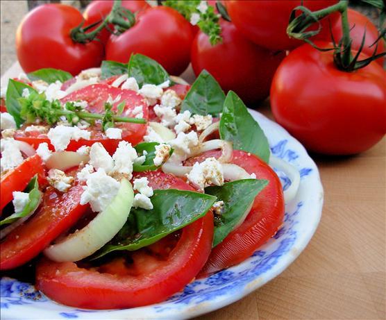 Vine Ripened Tomato, Onion and Basil Salad