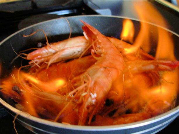 Flaming Garlic and Whisky Gambas! (King Prawns - Giant Shrimp). Karen Booth