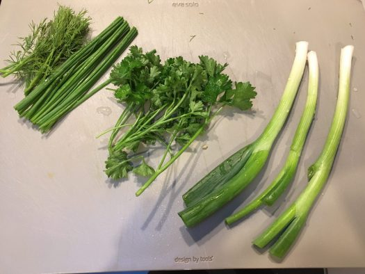 the herbs: dill, chives, parsley, spring onions