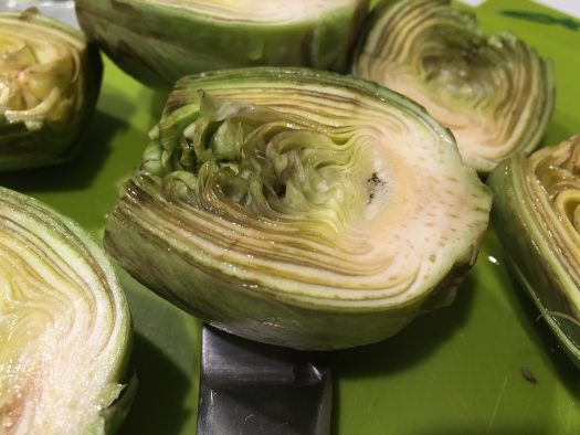 Artichoke sliced in half