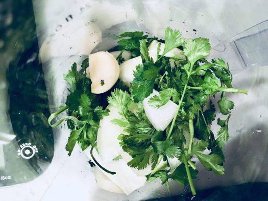 Before chopping garlic, coriander, etc