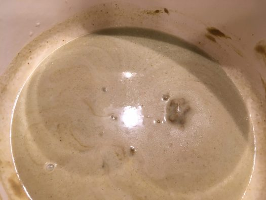 Coconut milk and green paste melted