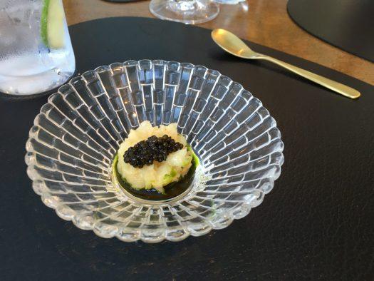 Salt baked celeriac with caviar