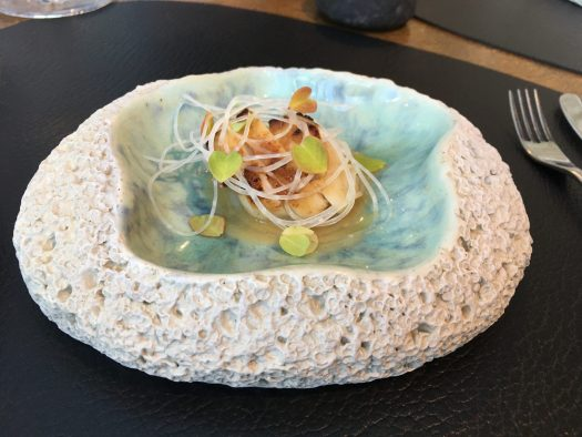 Cornish scallops, kohlrabi, rye vinegar