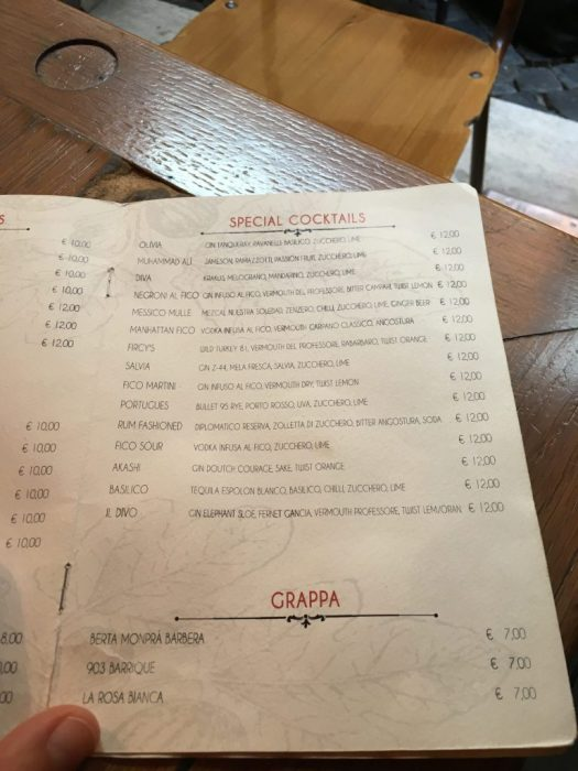 Drinks menu at Bar del Fico