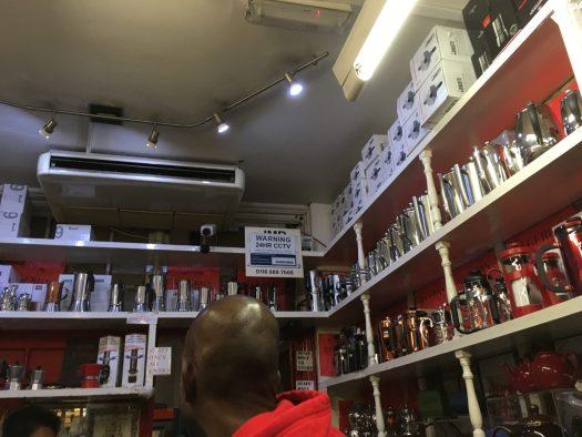 Cafetières, v60s, aeropresses in the shelves