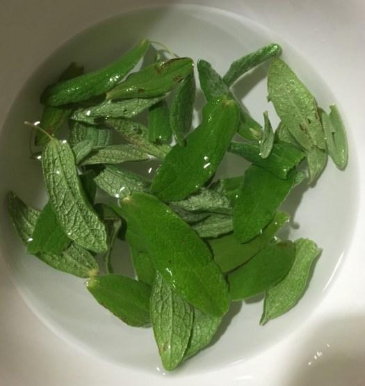 Sage leaves in water