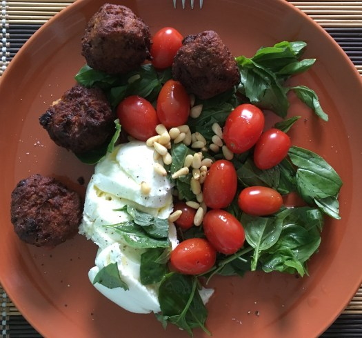 mozzarella and basil salad, with sweet potato falafel