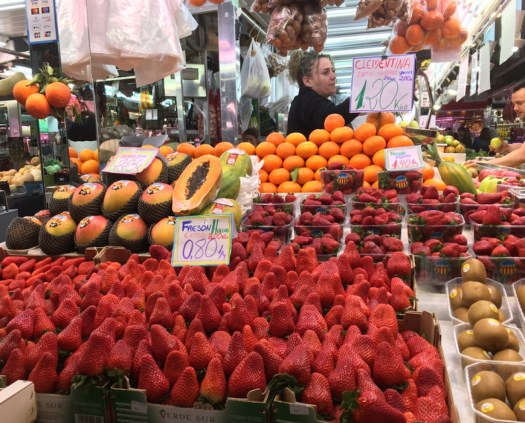 Mega strawberries at the market