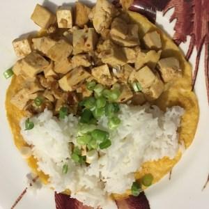 Ma-po tofu omelette, with rice