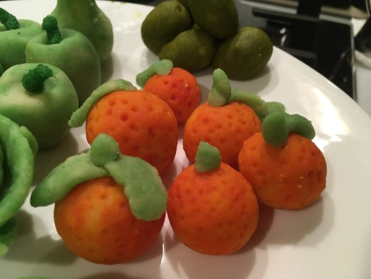 Marzipan shaped as oranges