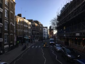 Clerkenwell Road, from the top deck of the 55